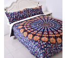 Image of Set of 3 - Microflannel Mandala Printed Comforter in King Size with Sherpa Lining with 2 Sherpa Pillowcases - Navy, Orange and Multi Colour