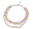 Image of Simulated Champagne Diamond and Multi Gemstone Beaded Necklace (Size 22 with 2 inch Extender) in Silver Tone