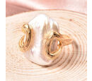 Image of Baroque Pearl Solitaire Ring in Yellow Gold Overlay Sterling Silver