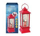Image of LED Water & Glitter Santa Lantern (Size 10.5x10.5x27.5cm) - Red (3xAA Battery not Included)