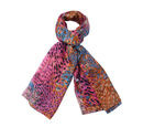 Image of Close Out Deal- 100% Mulberry Silk Peacock Feather Pattern Scarf (Size 175x105 Cm) - Multi