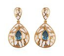 Image of Electric Blue Topaz and Natural Cambodian Zircon Enamelled Drop Earrings in 14K Gold Overlay Sterling Silver 3.50 Ct., Silver wt 6.00 Gms