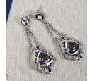 Image of Mystic Topaz Dangle Earrings in Platinum Over Sterling Silver 0.87 Ct.