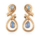Image of Ethiopian Welo Opal Infinity Nail Earrings (with Push Back) in 14K Gold Overlay Sterling Silver 0.80 Ct.
