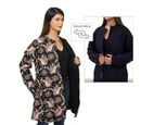 Image of Handmade Printed Reversible Quilted Long Jacket in Black - Size M