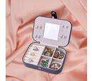 Image of Portable and Lightweight Jewellery Organiser with Button Closure and Inside Mirror in Grey Colour (Size 16.5x11.5x5.5 cm)