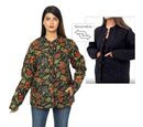 Image of Handmade Printed Reversible Quilted Full-Sleeves Short Jacket in Black - Size S