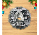 Image of Christmas Decoration Wreath Embellished with Pine Cones, Silver Apple, Silver Berries, Bowknot, and Merry Christmas Letter Words (Size 15x15cm)