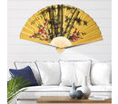 Image of Decorative Yellow Bamboo & Floral Pattern Japanese Style Folding Fan (3 ft)