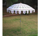 Image of 100% Cotton Canvas Block Printed Ethinic Parasols (Size 6 ft Dia Shade and 8 ft)  Long Pole(Approx.) Green