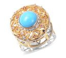 Image of Arizona Sleeping Beauty Turquoise & Multi Sapphire Ring in Two Tone Overlay Sterling Silver Ring 2.500 Ct, Silver Wt 9.85 Gms