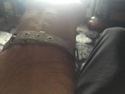 User supplied image of Cross Men Bracelet (Size 6.5-8.5) with Mesh Chain in Black and Silver Plated Stainless Steel