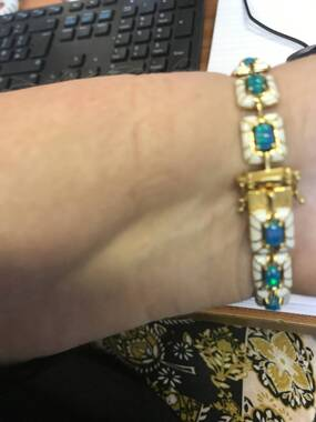 User supplied image of Miami Blue Welo Opal Enamelled Bracelet (Size 8) in 14K Gold Overlay Sterling Silver 5.00 Ct, Silver wt. 19.00 Gms