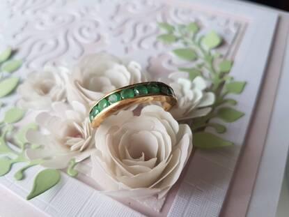 User supplied image of ILIANA 18K Y Gold Kagem Zambian Emerald (Rnd) Half Eternity Band Ring 1.000 Ct.