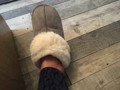 User supplied image of Super Soft Suede Home Slippers with Faux Fur (Size L: 7-8) - Grey