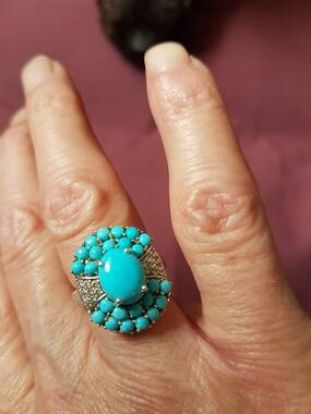 User supplied image of Arizona Sleeping Beauty Turquoise (Ovl 2.40 Ct), Natural Cambodian Zircon Ring in Platinum Overlay Sterling Silver 4.250 Ct.