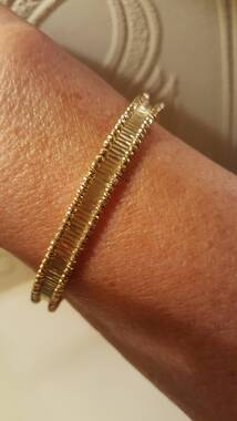 User supplied image of Limited Available- Designer Inspired- 9K Y Gold Cuff Bangle (Size 7 to 8), Gold wt 7.57 Gms.