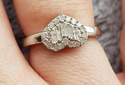 User supplied image of Designer Inspired- Diamond (Bgt) Love Heart Ring in Platinum Overlay Sterling Silver 0.500 Ct.