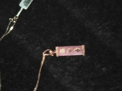 User supplied image of Pink Jade Chinese Characters (Happiness, Prosperity and Longevity) Pendant With Chain in Rose Gold Overlay Sterling Silver 12.000 Ct.
