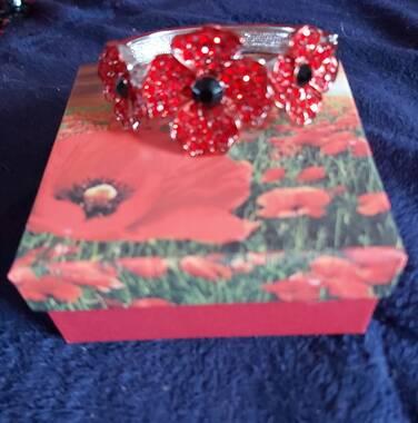 User supplied image of DOD - TJC Poppy Design Red and Black Austrian Crystal (Rnd) Enamelled Poppy Flower Bangle (Size 7)