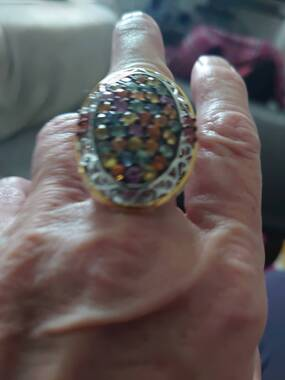 User supplied image of AA Rainbow Sapphire Ring in Two-Tone Overlay Sterling Silver 6.08 Ct.