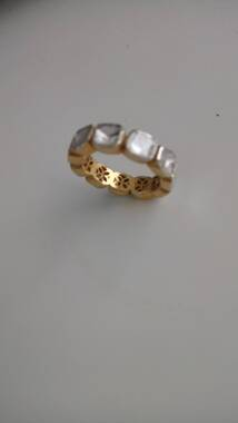 User supplied image of Close Out Deal Polki Diamond Ring in Gold Overlay Sterling Silver 1.40 Ct.
