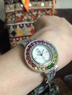 User supplied image of EON 1962 Swiss Movement Multi GemStone Bracelet Watch (Size 7.5) in Sterling Silver 11.780 Ct.