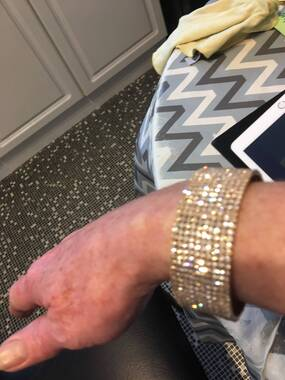 User supplied image of AAA White Austrian Crystal Cuff Bangle (Size 6.5) in Yellow Gold Tone