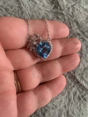 User supplied image of Electric Swiss Blue Topaz (Hrt), Natural Cambodian Zircon Necklace (Size 18) in Platinum Overlay Sterling Silver 8.00 Ct.