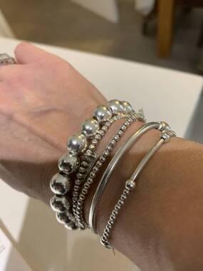 User supplied image of Sterling Silver Ball Bracelet (Size 8), Sliver Wt. 15.40 Gms
