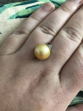 User supplied image of Royal Bali Collection ILIANA 18K White Gold South Sea Golden Pearl (Rnd 13-14 mm)  Pendant