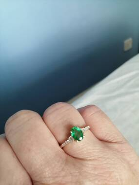 User supplied image of 9K Yellow Gold Zambian Emerald and Diamond Ring 0.92 Ct.