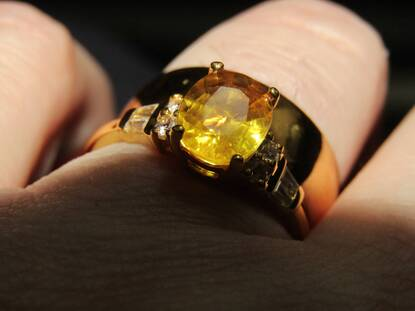 User supplied image of Yellow Sapphire (Ovl), Natural Cambodian White Zircon Ring in Yellow Gold Overlay Sterling Silver 2.740 Ct.