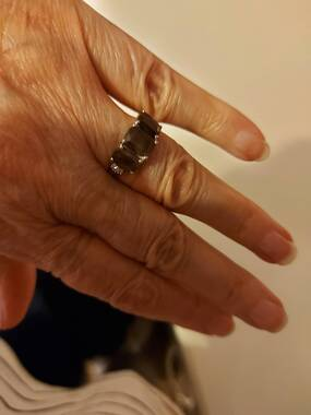 User supplied image of AA Chocolate Sapphire and Diamond Ring in Platinum Overlay Sterling Silver 3.05 Ct.