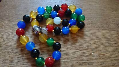 User supplied image of Multi Agate (Rnd 11-13mm) Beads Necklace (Size 20) in Stainless Steel 422.50 Ct.