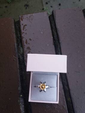 User supplied image of Platinum and Yellow Gold Overlay Sterling Silver Floral Ring, Silver wt 5.70 Gms
