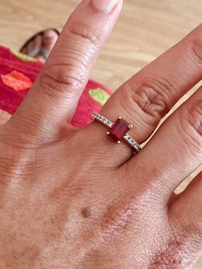 User supplied image of WEBEX- 9K Yellow Gold African Ruby (Oct 1.60 Ct), Natural Cambodian Zircon Ring  1.750 Ct.