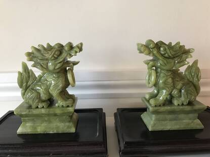 User supplied image of Set of 2 - Handcrafted Jade Decorative Pixiu Figurine (Size 7.5x12 Cm) - Green