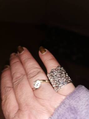 User supplied image of Lucy Q - Filigree Ring in Rhodium Overlay Sterling Silver