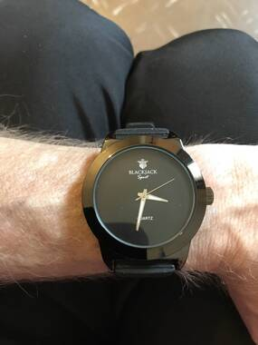 User supplied image of BLACKJACK Japanese Movement Black Colour Dial Water Resistant Watch in Black Tone with Stainless Steel Back and Black Rubber Strap
