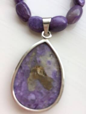 User supplied image of GP - Set of 2 - Russian Charoite, Blue Sapphire Necklace (Size 18) and Star Charm in Sterling Silver 150.03 Ct.