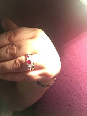 User supplied image of African Ruby (Ovl 1.10 Ct) Ring in Sterling Silver 1.750 Ct.