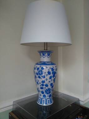User supplied image of Classic Chinese Blue Colour Flowers and Leaves Printed White Colour Table Lamp (Size 60x37 Cm)