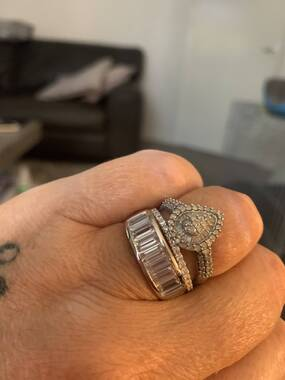User supplied image of J Francis - Platinum Overlay Sterling Silver Ring Made with SWAROVSKI ZIRCONIA 4.47 Ct.