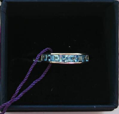 User supplied image of 9K Yellow Gold Santa Maria Aquamarine (Sqr) Half Eternity Band Ring 1.500 Ct.