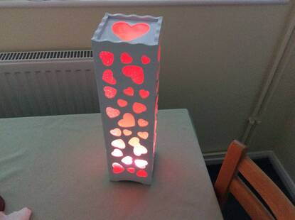User supplied image of Home Decor - Red Colour Heart Pattern White Colour LED Lamp