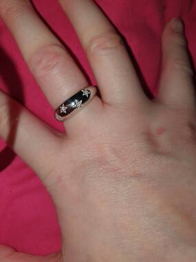 User supplied image of Diamond Platinum Overlay Sterling Silver Ring  0.050  Ct.