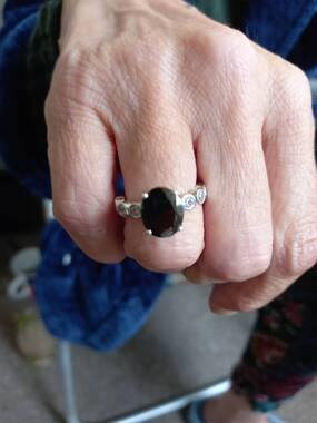 User supplied image of GP Elite Shungite (Ovl 11x9 mm), Natural Cambodian Zircon and Blue Sapphire Ring in Platinum Overlay Sterling Silver 3.50 Ct.