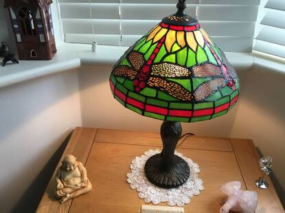 User supplied image of Home Decor - Green and Multi Colour Mosaic Dragonfly Table Lamp