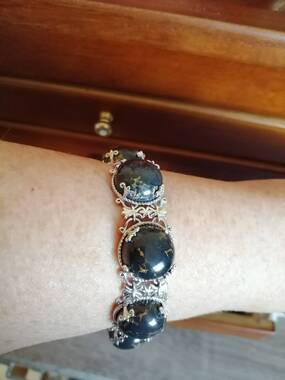 User supplied image of Mojave Black Turquoise (Ovl) Bracelet (Size 7.5) in Platinum Overlay Sterling Silver 82.000 Ct.
